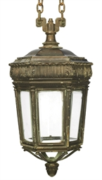 A BRONZE HEXAGONAL LANTERN