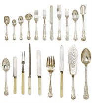 A VICTORIAN  EDWARDIAN SILVER PART-TABLE SERVICE OF KING'S PATTERN FLATWARE