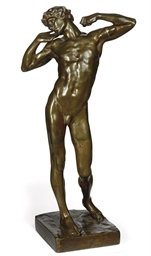 A BRONZE FIGURE OF 'THE SLUGGA
