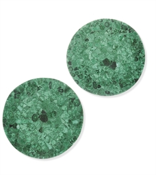 A PAIR OF MALACHITE CIRCULAR T