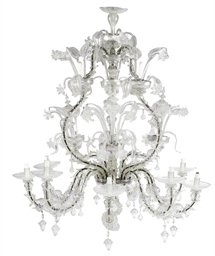 A VENETIAN GLASS TWELVE-LIGHT