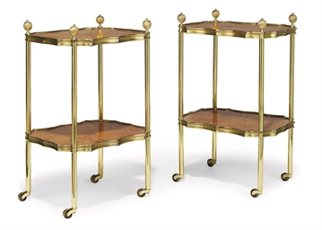 A PAIR OF GILT-BRASS AND MAPLE