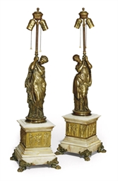 A PAIR OF FRENCH GILT-BRONZE T
