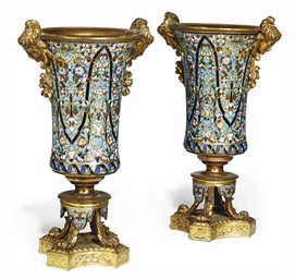 A PAIR OF FRENCH CHAMPLEVE ENA