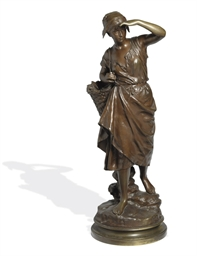 A FRENCH BRONZE FIGURE OF A FI