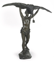A BRONZE MODEL OF A HUNTER WIT