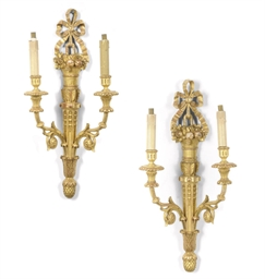 A PAIR OF GILTWOOD TWIN-LIGHT