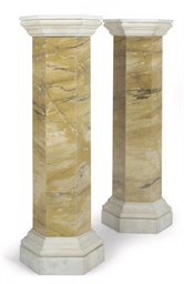 A PAIR OF SIENA MARBLE COLUMNA