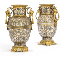A PAIR OF SPANISH GILT AND SIL
