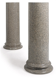 A PAIR OF PINK GRANITE COLUMNA