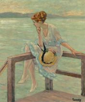 Seated Woman on a Railing