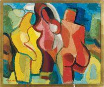 Cubist nude figures