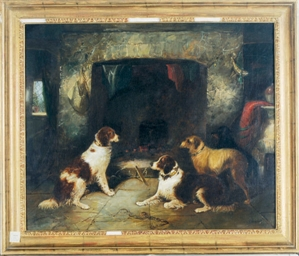 Dogs in an interior resting by