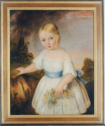 Portrait of a young girl holdi