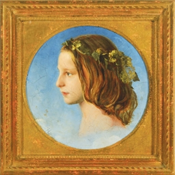 A Hop Wreath - a girl's head