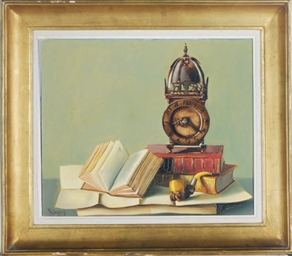 Still life of books, a clock a