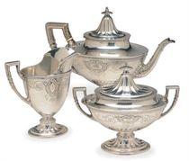 AN AMERICAN SILVER THREE-PIECE TEA SERVICE,