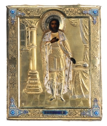 A RUSSIAN SILVER GILT AND CLOISONNE ENAMELED ICON OF SAINT ALEXANDER NEVSKY,