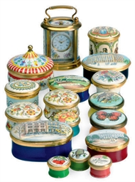 THIRTY-TWO ENAMELED PILL BOXES