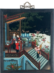 A CHINESE REVERSE PAINTING ON