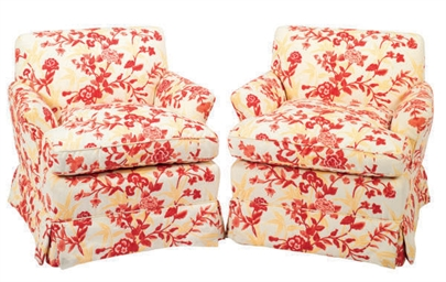 A PAIR OF FLORAL UPHOLSTERED '