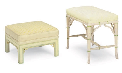 A CREAM-PAINTED FAUX-BAMBOO AN