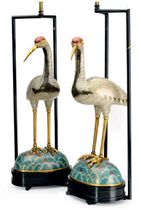 A PAIR OF CHINESE CLOISONNE CRANES MOUNTED AS LAMPS,
