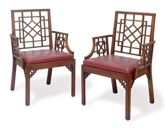 A SET OF SIX MAHOGANY OPEN ARM