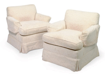 A PAIR OF UPHOLSTERED 'SENIAH'
