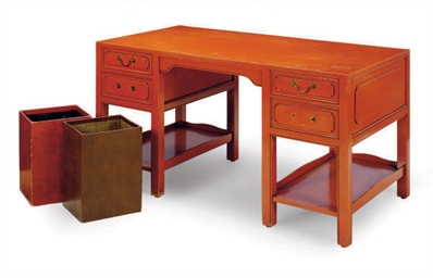 A SALMON-PAINTED DESK,