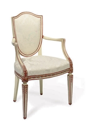 AN ITALIAN PAINTED FAUTEUIL,