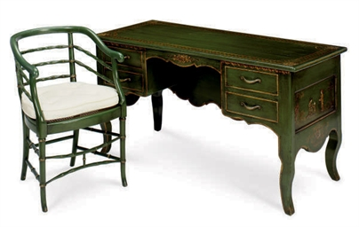 A GREEN-PAINTED AND GILT-DECOR