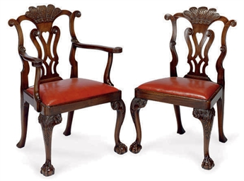 A SET OF FOURTEEN MAHOGANY DIN