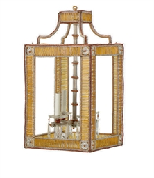 A CUT-GLASS AND BEADED LANTERN