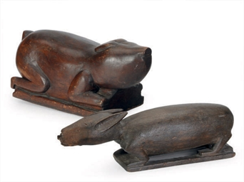 TWO CARVED WOOD FIGURES OF ANI