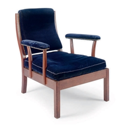 A MAHOGANY AND BLUE VELVET UPH