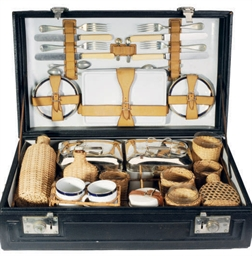 AN ENGLISH CASED PICNIC SET,
