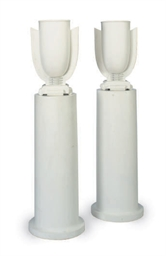 A PAIR OF WHITE-PAINTED LAMPS,
