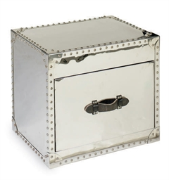 A CHROMED-METAL SIDE TABLE,