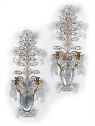 A PAIR OF GILT-METAL AND ROCK-
