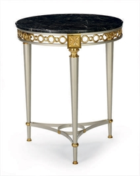 A STEEL, BRASS AND MARBLE-TOP