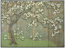 A HAND-PAINTED PAPER ON BOARD FOUR-PANEL FLOOR SCREEN,