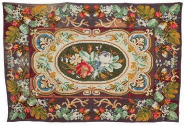 A VICTORIAN NEEDLEWORK CARPET,