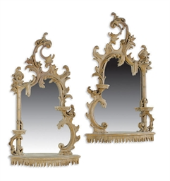 A PAIR OF PAINTED AND MIRRORED