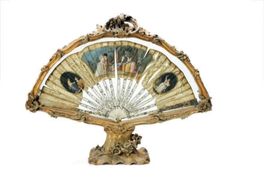 A FRENCH GILTWOOD FAN HOLDER,