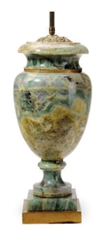 A GREEN MARBLE URN-FORM TABLE