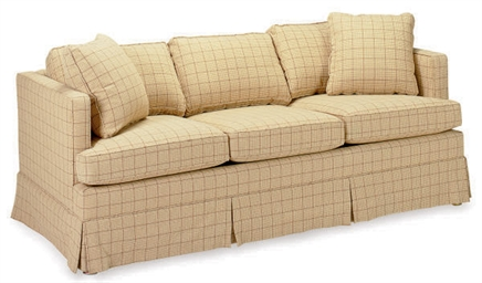 AN UPHOLSTERED SOFA AND CLUB C