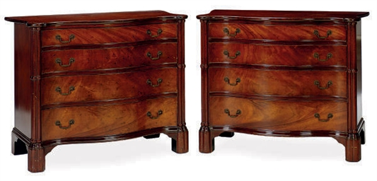 A PAIR OF MAHOGANY SERPENTINE