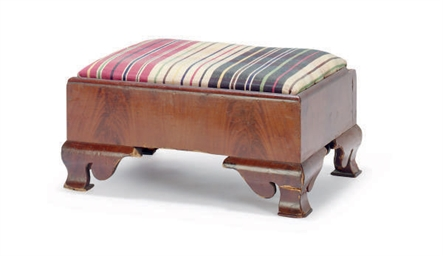 A FRENCH MAHOGANY FOOTSTOOL,