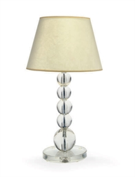 A FRENCH GLASS TABLE LAMP,